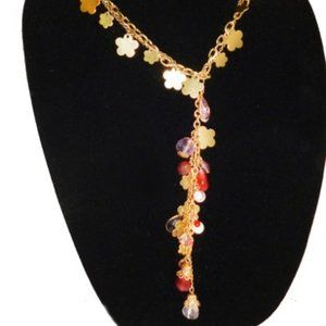 Jewelry - CLOVER WATERFALL GOLD FLORAL POURED GLASS NECKLACE